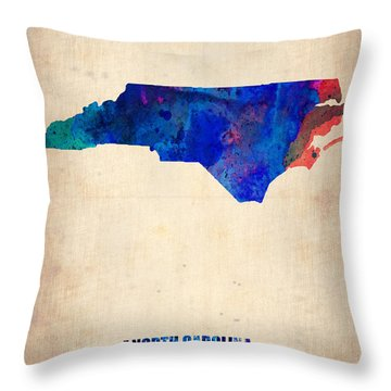 North Carolina Watercolor Map Throw Pillow