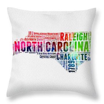 North Carolina Watercolor Word Cloud Map Throw Pillow