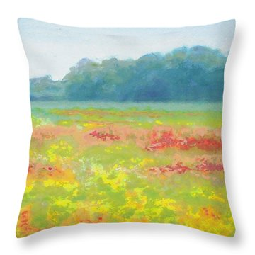 North Carolina Wildflowers Landscape Original Fine Art Painting Throw Pillow