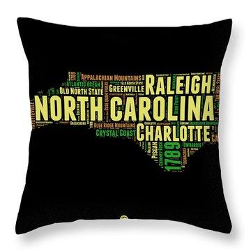 North Carolina Word Cloud Map 1 Throw Pillow