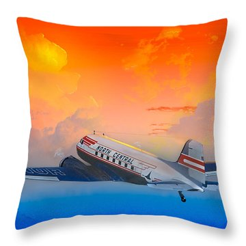 North Central Dc-3 At Sunrise Throw Pillow