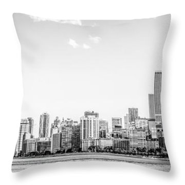 North Chicago Skyline Panorama In Black And White Throw Pillow by Paul Velgos