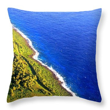 North Coast Of Tinian At Sunrise Throw Pillow