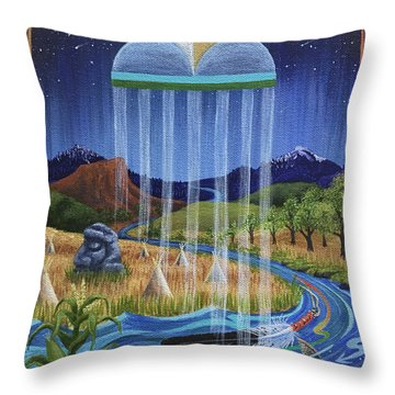 North Dakota Prayer Throw Pillow by Kristen Holmberg