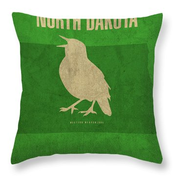 North Dakota State Facts Minimalist Movie Poster Art Throw Pillow by Design Turnpike