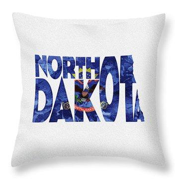 North Dakota Typographic Map Flag Throw Pillow