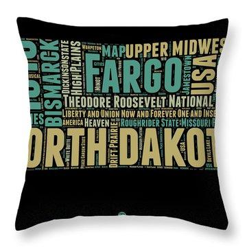 North Dakota Word Cloud 1 Throw Pillow
