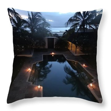 North - Eastern African Home - Sundown Over The Swimming Pool Throw Pillow