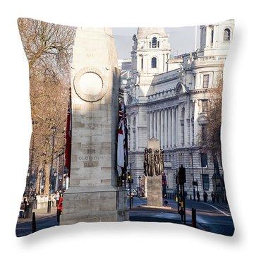 North Facade Of Cenotaph War Memorial Whitehall London Throw Pillow