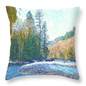 North Fork Of The Skykomish River Throw Pillow by Tobeimean Peter