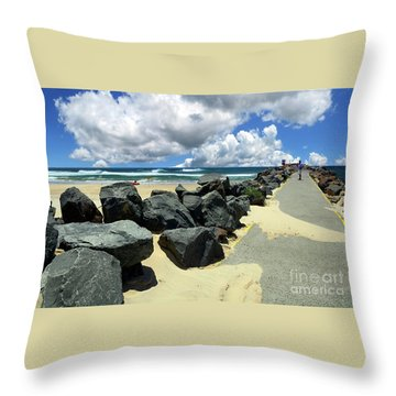 North Haven Breakwater Walkway By Kaye Menner Throw Pillow
