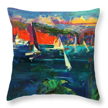 North Head  Sydney Harbour Throw Pillow by Peter Graham