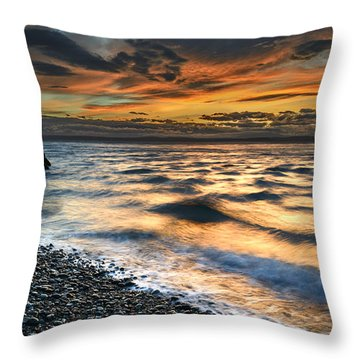 North Jetty Sunset Throw Pillow