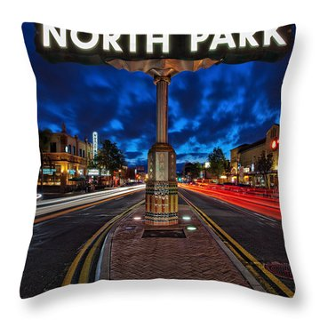 North Park Neon Sign San Diego California Throw Pillow