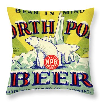 North Pole Beer Throw Pillow