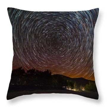 North Pole Ny Star Trails Throw Pillow