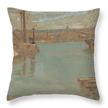 North River Dock, New York, 1901 Throw Pillow
