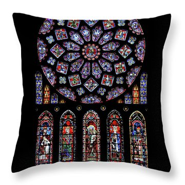 North Rose Window Of Chartres Cathedral Throw Pillow