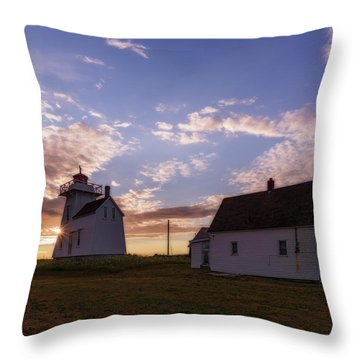 Throw Pillow featuring the photograph North Rustico Lighthouse At Sunrise by Chris Bordeleau