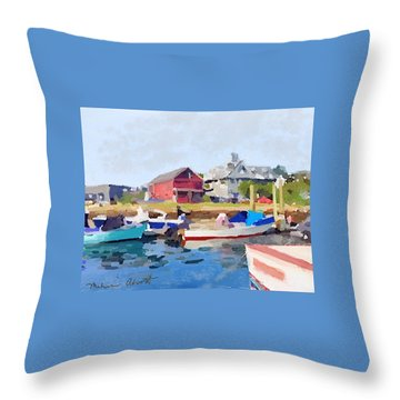North Shore Art Association At Pirates Lane On Reed's Wharf From Beacon Marine Basin Throw Pillow by Melissa Abbott
