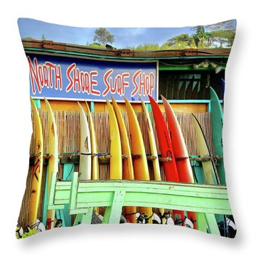 North Shore Surf Shop 1 Throw Pillow by Jim Albritton