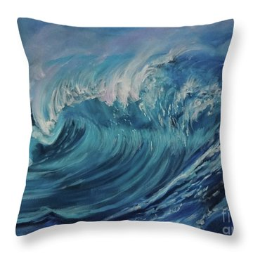 North Shore Wave Oahu Throw Pillow