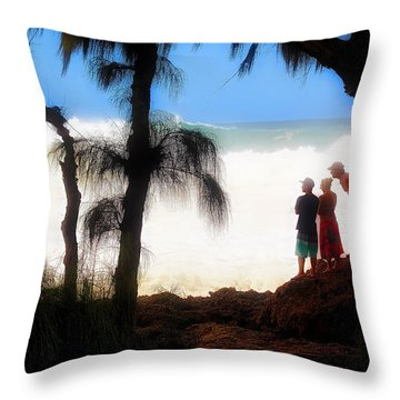 North Shore Wave Spotting Throw Pillow by Jim Albritton