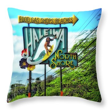North Shore's Hale'iwa Sign Throw Pillow by Jim Albritton