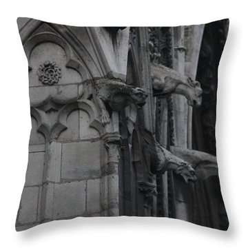 North Side Notre Dame Cathedral Throw Pillow