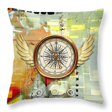 Throw Pillow featuring the mixed media North, South, East And West by Marvin Blaine