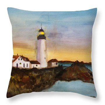 North Truro Light House Cape Cod Throw Pillow by Donna Walsh