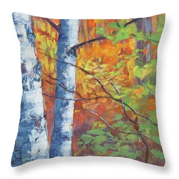 North Woods Birch Throw Pillow