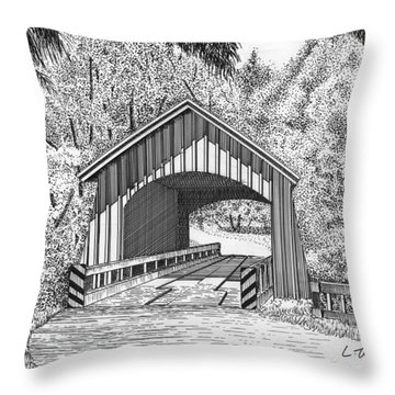 North Yachats Covered Bridge Throw Pillow by Lawrence Tripoli