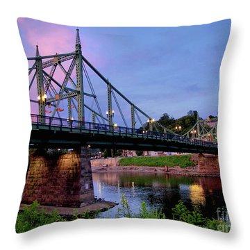 Northampton Street Bridge At Sunset Throw Pillow