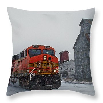 Northbound Winter Coal Drag Throw Pillow by Ken Smith