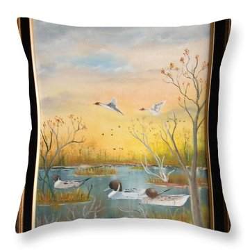 Northen Pintails Throw Pillow by Al  Johannessen