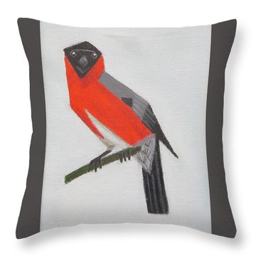 Northern Bullfinch Throw Pillow