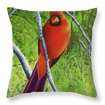 Northern Cardinal 1 Throw Pillow