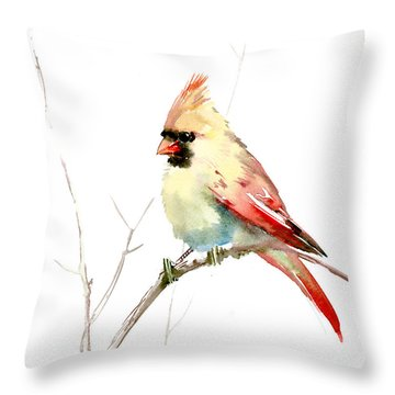 Northern Cardinal,female Throw Pillow