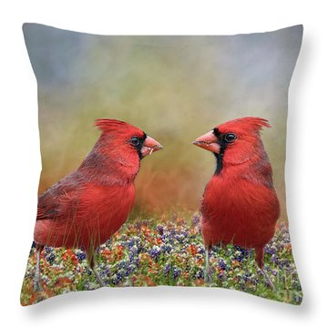 Throw Pillow featuring the photograph Northern Cardinals In Sea Of Flowers by Bonnie Barry