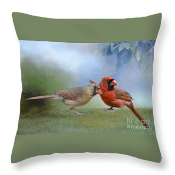 Throw Pillow featuring the photograph Northern Cardinals On A Spring Day by Bonnie Barry