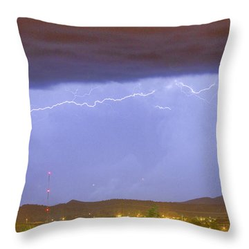 Northern Colorado Rocky Mountain Front Range Lightning Storm  Throw Pillow by James BO  Insogna