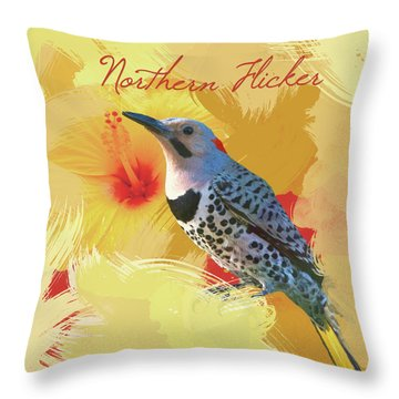 Throw Pillow featuring the photograph Northern Flicker Watercolor Photo by Heidi Hermes