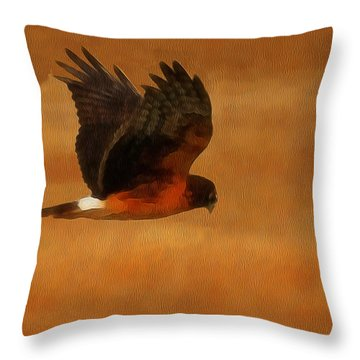 Northern Harrier Digital Art Throw Pillow