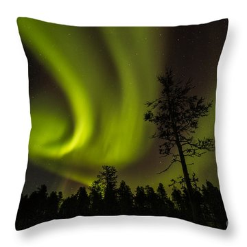 Northern Light In Finland Throw Pillow by Gabor Pozsgai
