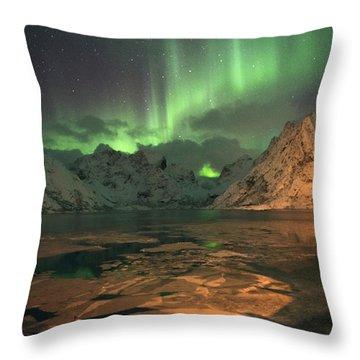 Northern Light In Lofoten, Nordland 1 Throw Pillow