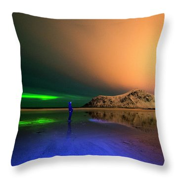 Northern Light In Lofoten, Nordland 4 Throw Pillow