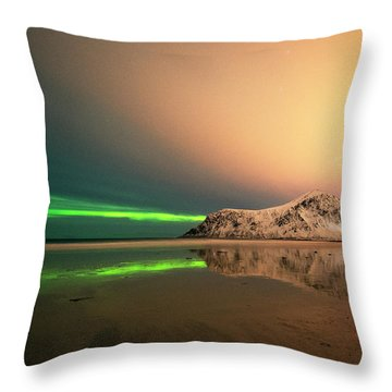 Northern Light In Lofoten Nordland 5 Throw Pillow by Dubi Roman