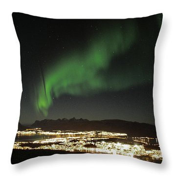 Northern Light In Troms, North Of Norway Throw Pillow