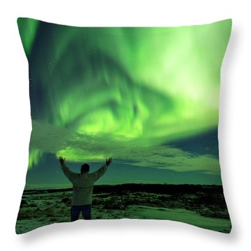 Northern Light In Western Iceland Throw Pillow